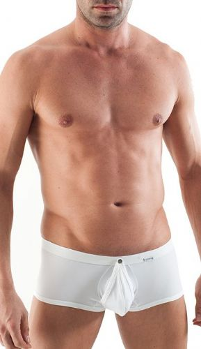 GERONIMO Mens Underwear On/Off Boxer White Low Rise, Open front 1353b1